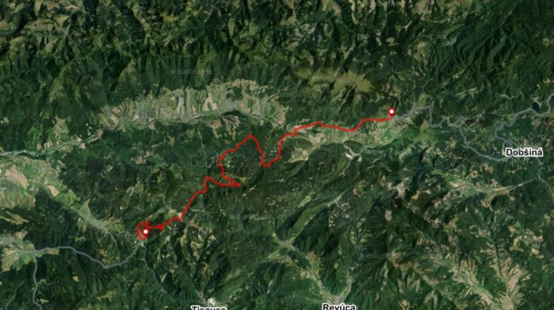 Bike route Muranska planina National Park map