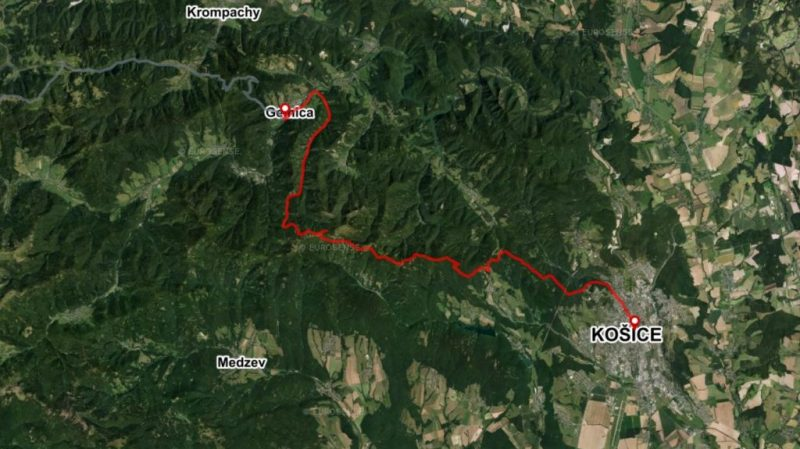 Bike Route Gelnica Kosice map Slovakia