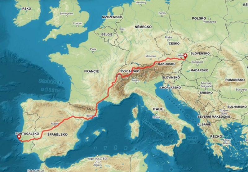 europe map bike trip slovakia portugal