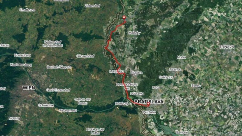 Bike path Bratislava Morava river Iron Curtain map to Rudava