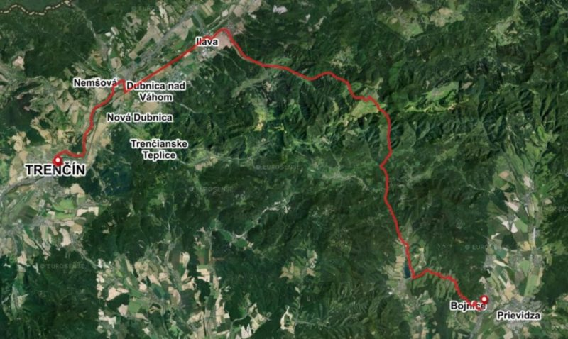 Bike Route Trencin Bojnice road and gravel map