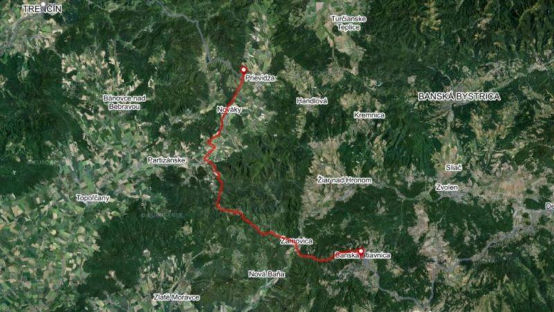 Bike Route Bojnice Banska Stiavnica map Slovakia