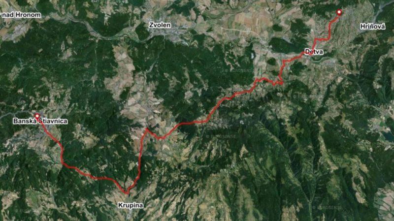 Bike route Banska Stiavnica Detva detailed map Slovakia