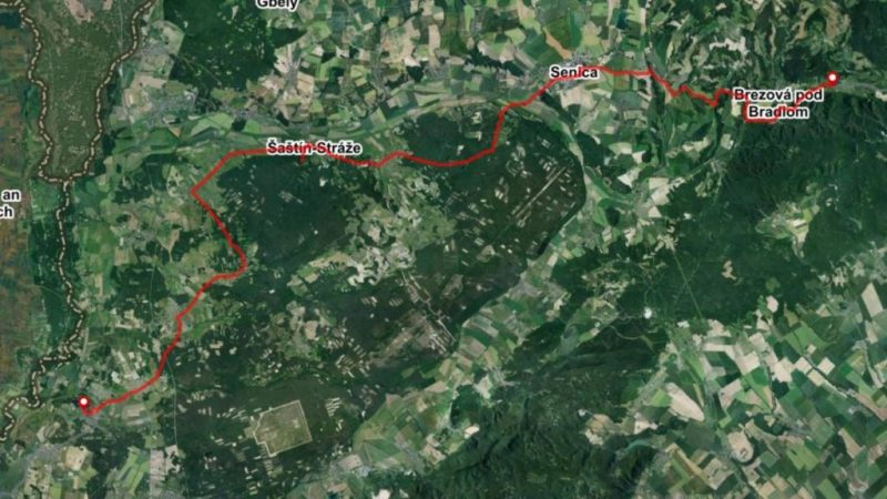 Bike route map Zahorie region Slovakia