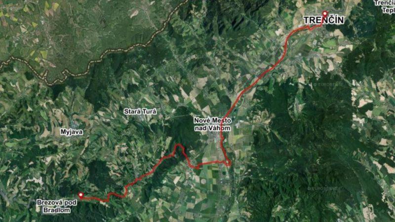 Bike map Myjava region Cachtice Beckov Trencin Slovakia